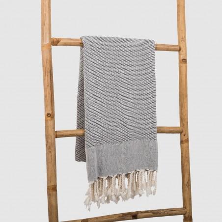 honeycomb turkish peshtemal towel dark grey