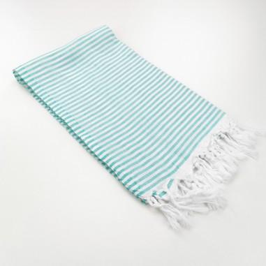 Turkish pareo towel fine stripes medium green