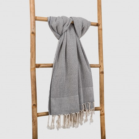 honeycomb turkish towel dark grey